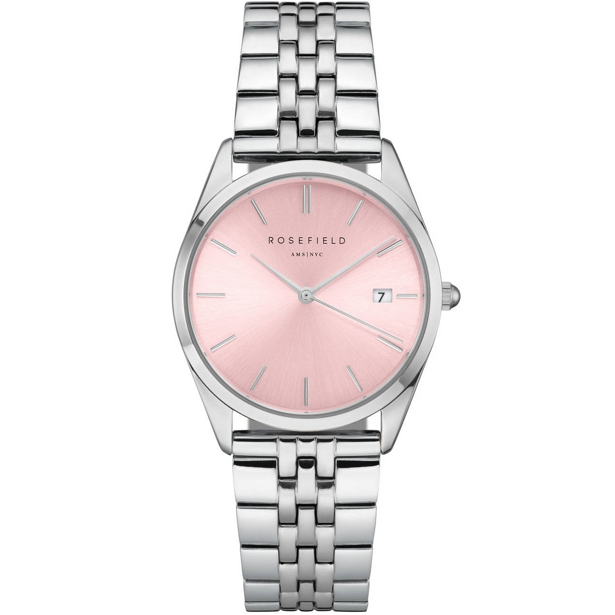Rosefield The Ace Pink Sunray Silver Horloge