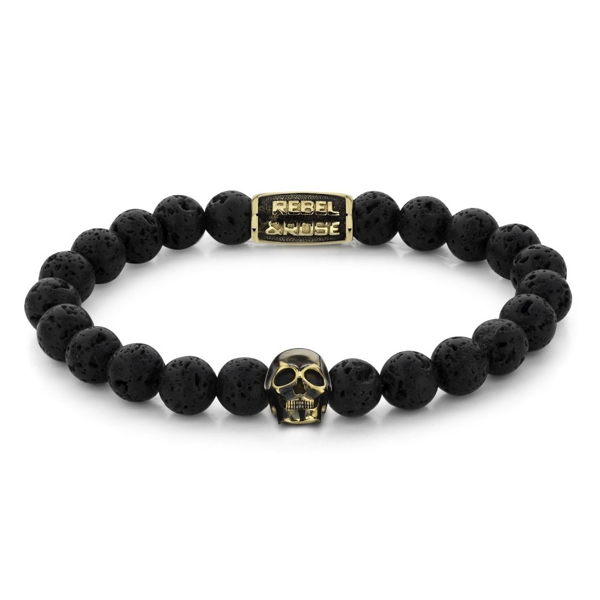 Rebel and Rose RR-SK002-G-S Armband Skull Black Moon yellow gold plated S 8mm 16.5